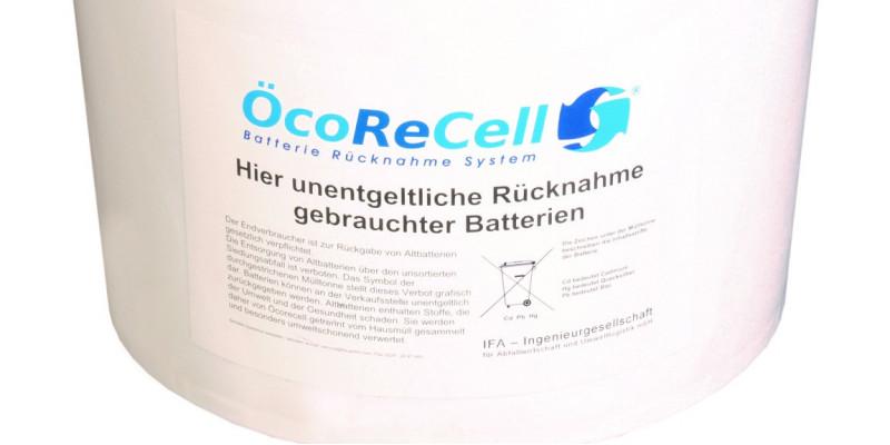 Ökorecell-Sammelbox für Altbatterien