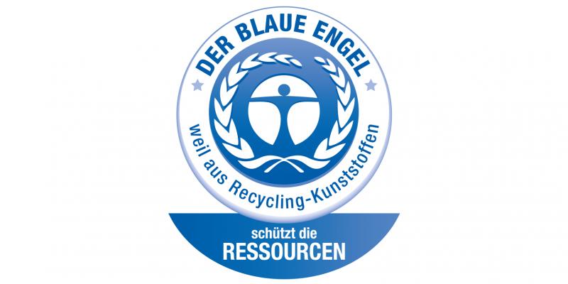 Logo des Blauen Engels für Recycling-Kunststoffe