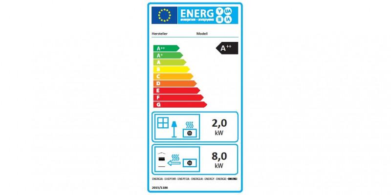EU-Energieverbrauchskennzeichnung für wasserführendes Einzelraumheizgerät mit indirekter Heizfunktion