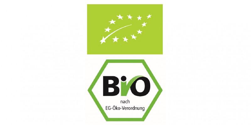 Logos des EU-Bio-Siegels und des deutschen Bio-Siegels