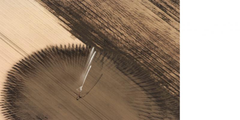 Das Bild zeigt eine offene Ackerfläche, in deren Mitte eine Beregnungsanlage steht, die kreisförmig Wasser auf die Fläche sprengt.