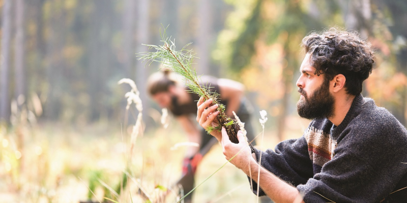 The picture shows a young man kneeling in a clearing, holding a conifer seedling in his hands and looking at it. In the background, a man planting a tree with a spade can be seen in a blur.