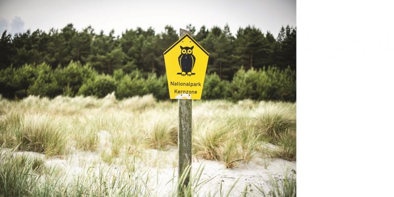 Das Bild zeigt das in den ostdeutschen Ländern übliche Schild zur Ausweisung einer Nationalpark-Kernzone. Es zeigt eine Eule. Das Schild steht in einem Steppenrasen, im Hintergrund grenzt ein Wald an.
