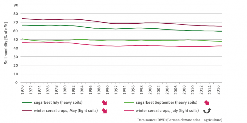 The line graph shows the development of soil water supply in agriculturally used soils as a percentage of the usable field capacity since 1970. The graph shows the development of soil water supply in light soils under winter cereals in May and July and in heavy soils under sugar beet in July and September. With the exception of the time series for winter cereals in July, which shows a quadratically increasing trend, the trends of the time series are significantly increasing.