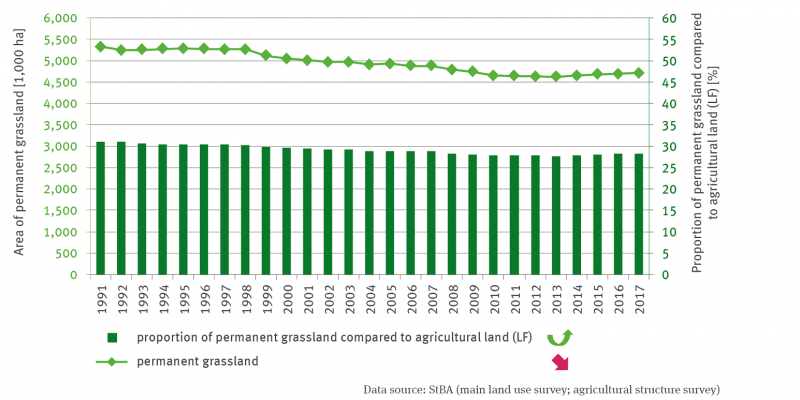 A bar chart shows the share of permanent grassland in the area used for agriculture. A time series from 1991 to 2017 is shown, with values decreasing continuously and significantly. For 1991 the value is 31 percent, in 2017 it has dropped to 28 percent. A line represents the permanent grassland area in hectares. In 1991, there were 5,400,000 hectares, in 2017 around 4,700,000. The trend is quadratically increasing, which means that the decline was halted after 2010.