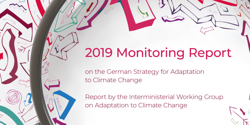 Detail of the cover image for the DAS Monitoring Report 2019, a magnifying glass is shown that magnifies letters and symbols with the text Monitoring Report 2019.
