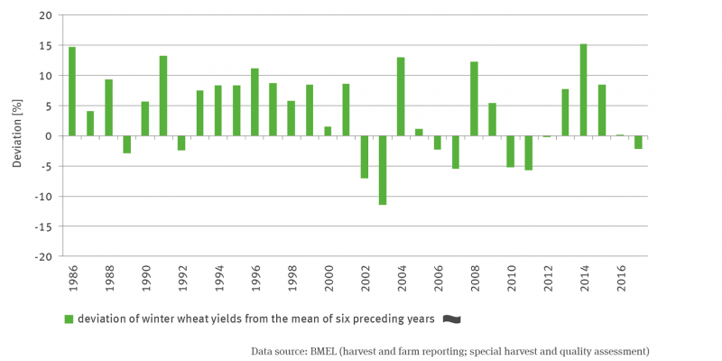 The bar chart shows the deviation in percent of the winter wheat yields from the mean of the 6 previous years for the period 1986 to 2017. Up to 2001, the positive values clearly predominate, in the years thereafter there were strong differences between the years with partly significant positive and negative deviations. There is no trend.