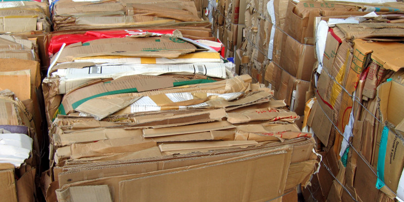 Paper being bundled for recycling