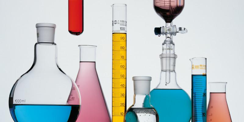 coloured liquids in flasks