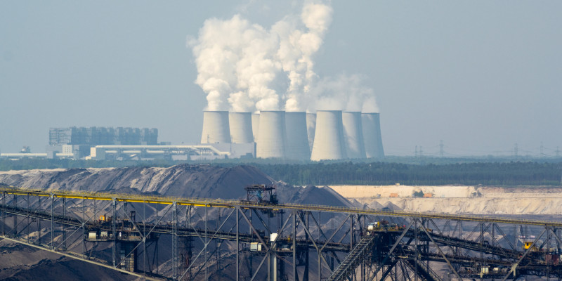 chimneys and a brown coal mine