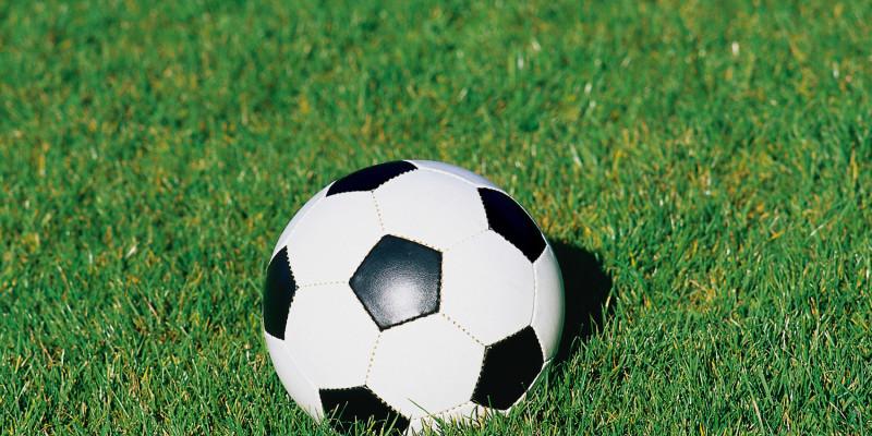 Fußball liegt auf Wiese