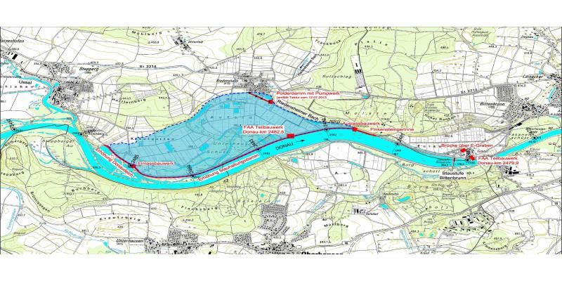 Topografische Karte mit Einzeichnung des Polders
