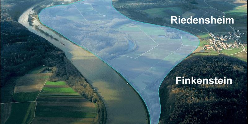 Luftbild mit Einzeichnung des Polders