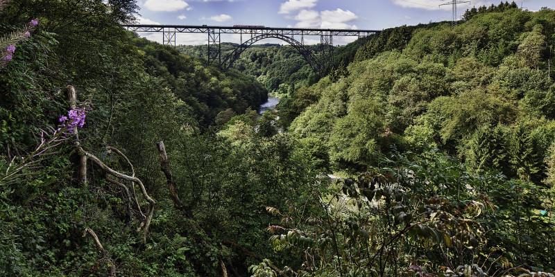 Remscheid Müngstener Brücke. Grün belaubte Bäume stehen im Vordergrund.