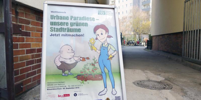 Aufsteller zum Wettbewerb Urbane Paradiese - unsere grünen Stadträume.
