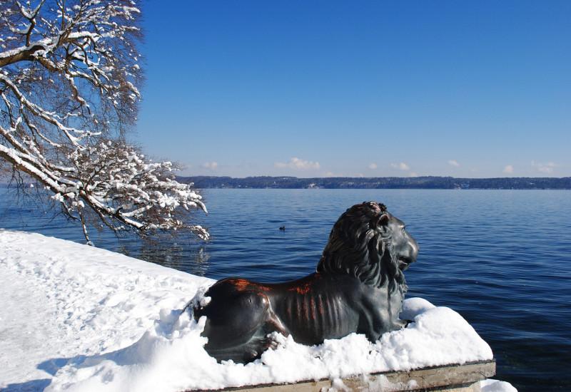 Verschneites Ufer des Sees. Im Vordergrund ein Baum und eine Lowenstatue