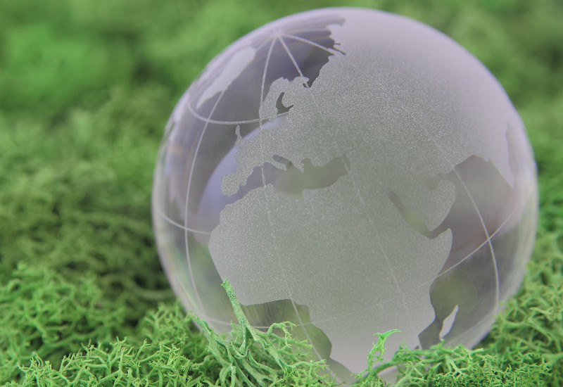 The picture shows a modell of the earth in green gras.
