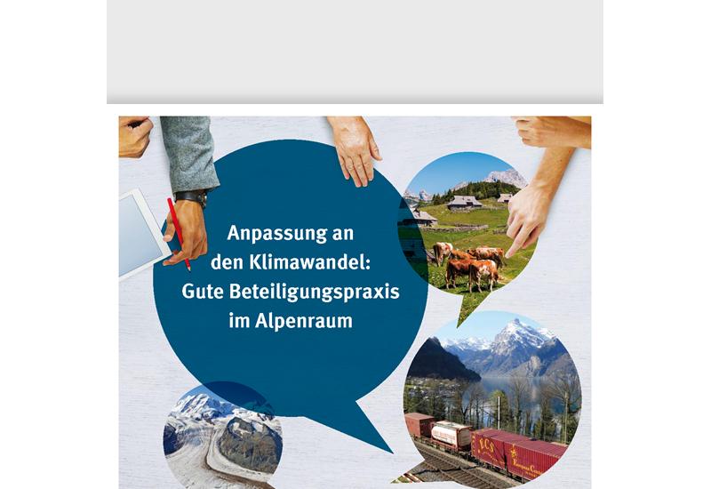 Cover des Handbuchs Anpassung an den Klimawandel: Gute Beteiligungspraxis im Alpenraum