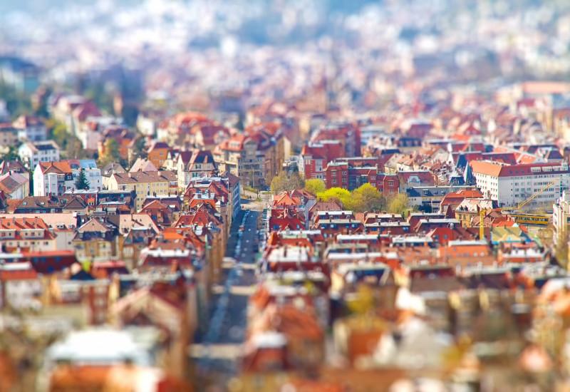Luftaufnahme einer Stadt.