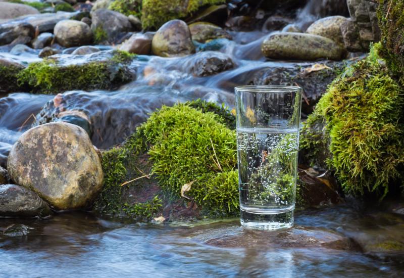 Foto: Ein steiniges, teils von Wasser überflossenes, teils mit Moos überwachsenes Gewässerbett. Im Vordergrund steht ein Glas mit Sprudelwasser auf einem im Gewässer befindlichen Stein, das die Trinkwasserversorgung symbolisiert.