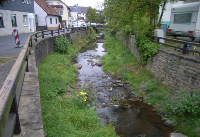Foto: Ein Bach mit hohen Ufermauern und angrenzenden Häusern und Straßen in Ortslage. Die Gewässersohle ist offen, mit Kies bedeckt und stellenweise bewachsen. Der Bach verläuft leicht schwingend im Kastenprofil.