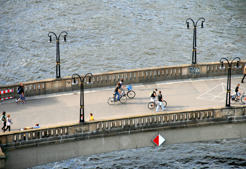 Bike and Person on a Bridge in Berlin