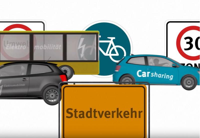 """Screenshot aus dem UBA-Erklärfilm """"Verkehr in der Stadt"""""""