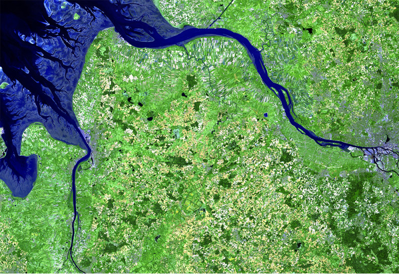 Eine Satellitenaufnahme der Nordseeästuare