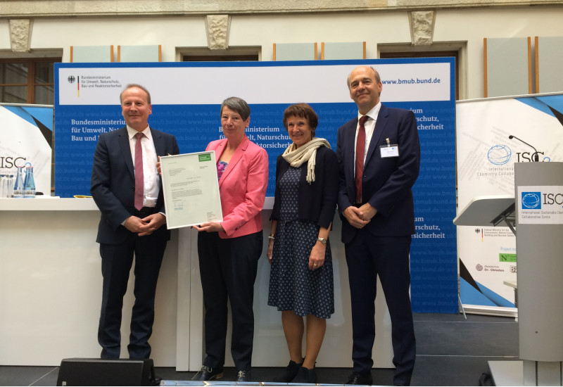 Federal Environment Minister Barbara Hendricks presented the foundation charter to Friedrich Barth, the new Managing Director of ISC3, and Dr Christoph Beier, Vice-Chair of the GIZ Management Board.