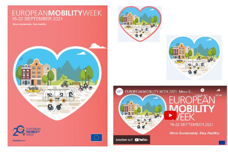 Ein herzförmiger Ausschnitt einer illustrierten Stadt, in der die EMW-Maskottchen nachhaltig unterwegs sind. Es handelt sich um das neue Design zur EMW 2021.