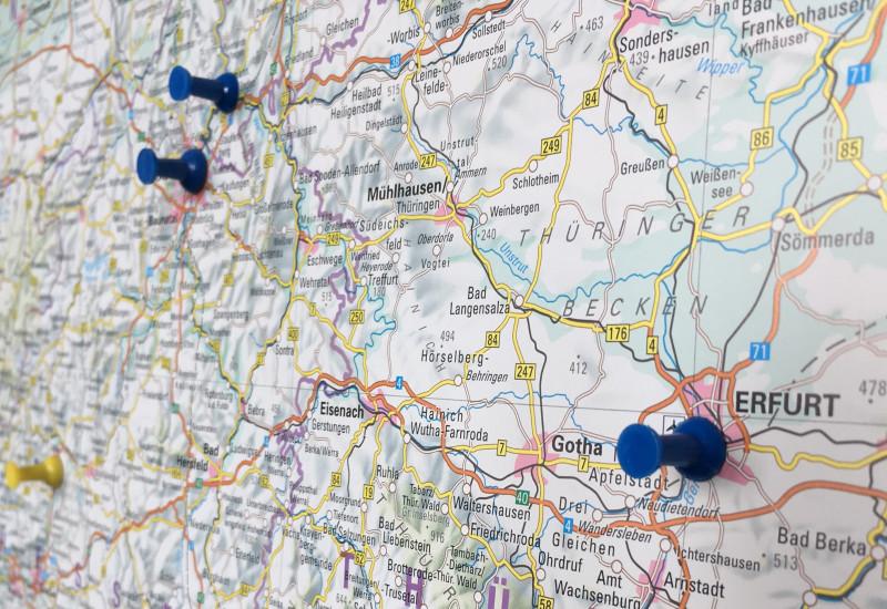 Die Landeshauptstadt Erfurt wird auf einer Karte angezeigt