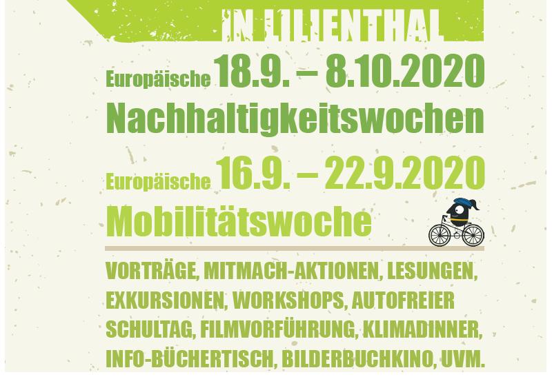 Plakat, das EMW und Europäische Nachhaltigkeitswoche kombiniert in Lilienthal