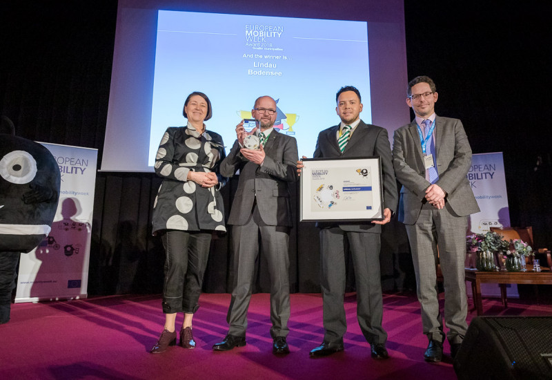 Preisträger aus Lindau am Bodensee mit EU-Kommissarin Bulc und Head of Cabinet DG Environment Müller