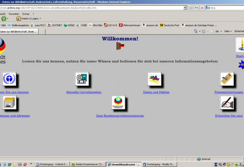 Damalige Startseite Umweltbundesamt mit Icons auf grauem Hintergrund