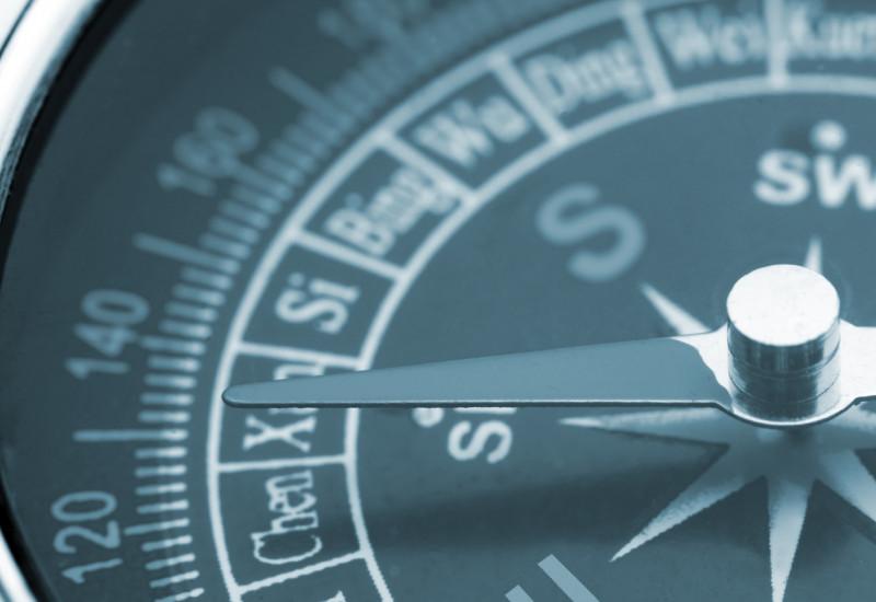 Detailansicht eines Kompass