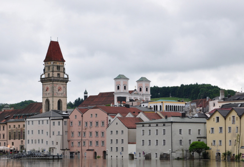 Historic city center with houses flooded