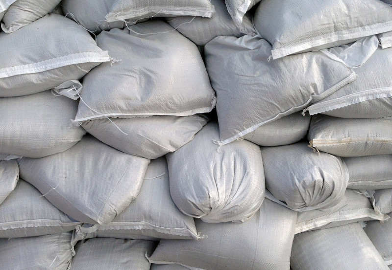 Detailed image of stacked sandbags