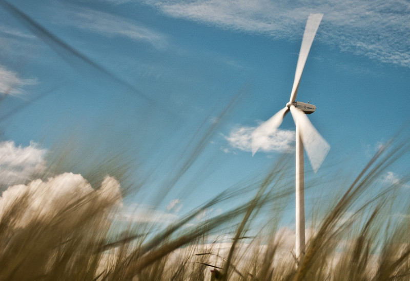 Wind power station in a crop field