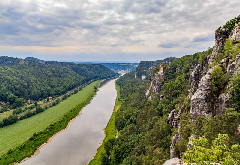 the river Elbe in the Elbe Sandstone Mountains