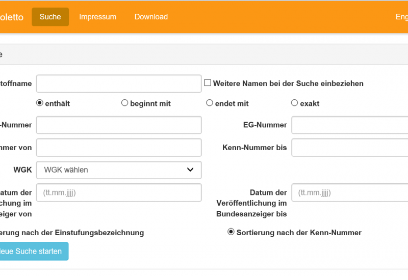 Screenshot der Datenbank