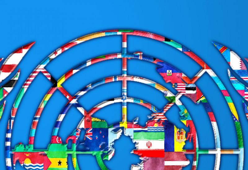 Viele Flaggen in einem UN-Logo