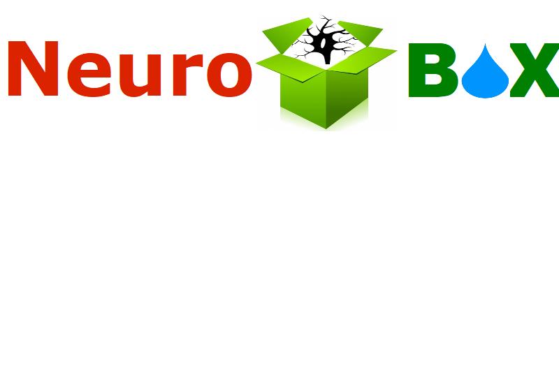 Buntes Buchstabenlogo (Neurobox) mit einer Box