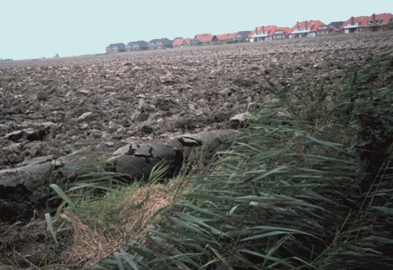 ein kahler, umgepflügter Acker, im Hintergrund ein Neubaugebiet