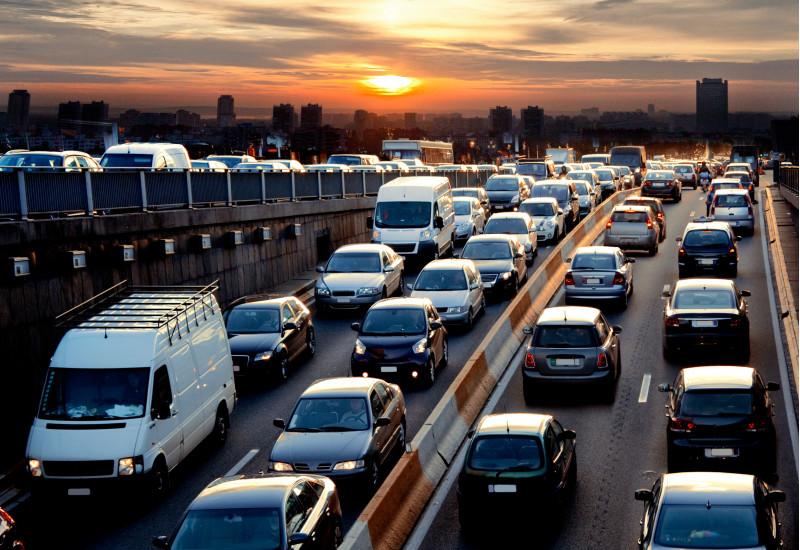 traffic jam on a motorway at dawn