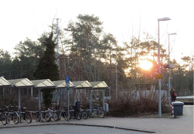 überdachte Fahrradständer und ein Parkplatz-Schild an einem Bahnsteig, im Hintergrund geht hinter Bäumen die Sonne auf, eine Frau wartet auf den Zug