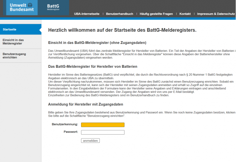 Startseite des Batteriegesetz-Melderegisters