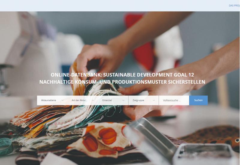 Startseite der SDG 12-Online-Datenbank