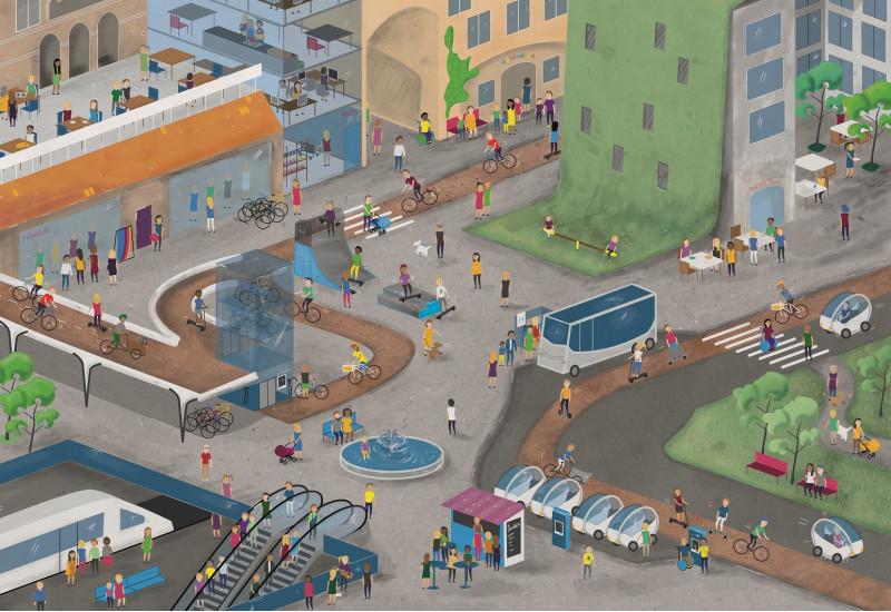 bunte Zeichnung einer Stadt: Im Straßenraum ist viel Platz für Fußgänger und Radverkehr, es gibt Busse, Bahnen und Elektrokleinwagen. Die Dächer sind begrünt und werden von den Menschen, wie die ebenfalls vorhandenen Grünanlagen und Stadtplätze, zur Erholung genutzt.