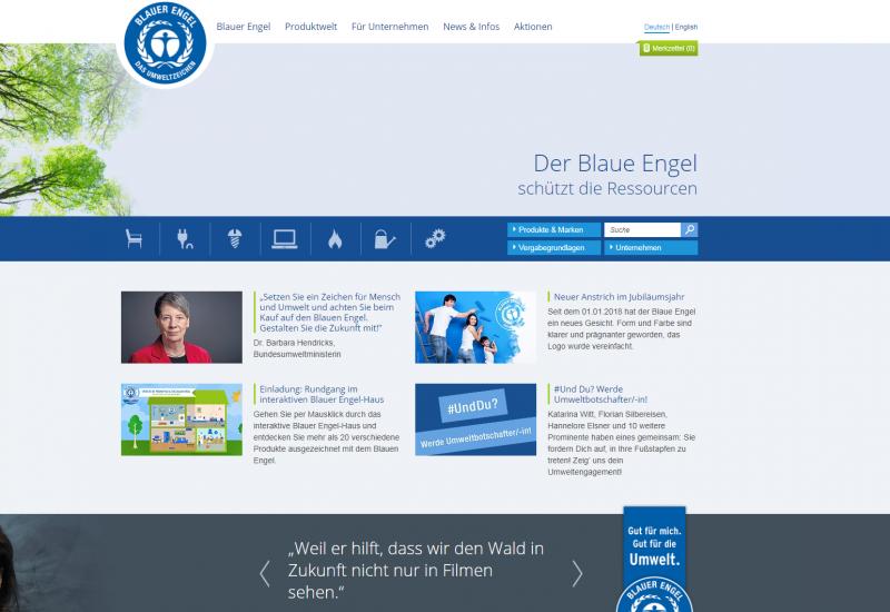"Screenshot der neuen ""Blauer Engel""-Website"