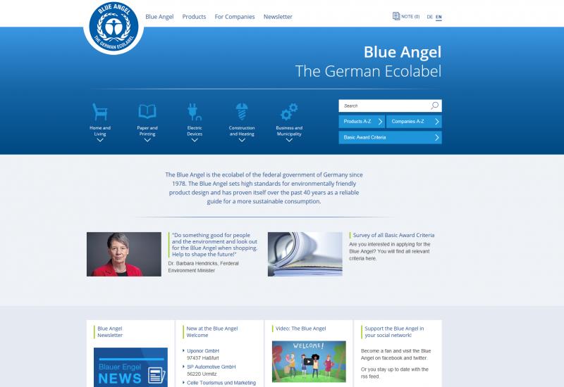 Screenshot Blue Angel website